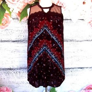 Maurice's Burgundy Floral Dress Lace Keyhole XXL